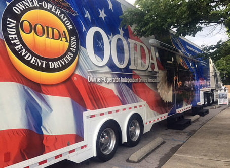 The Spirit, OOIDA's tour trailer, at the 2018 ATHS show, truck shows