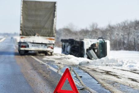 truck crash caution