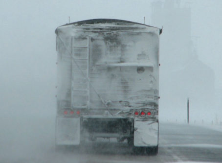 Semi-trailer in winter weather