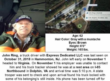 Missing trucker notice for John Ring
