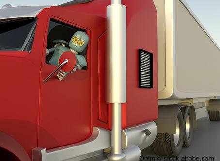 robot driving driverless truck