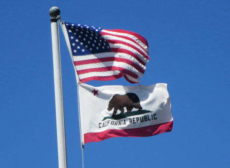 California flag, U.S. flag