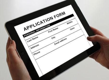 job application form on tablet