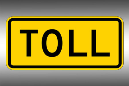 Yellow TOLL sign