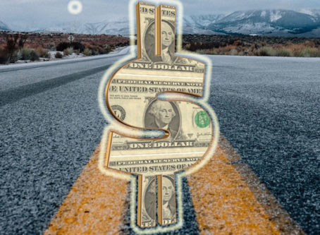 Road, dollar sign graphic