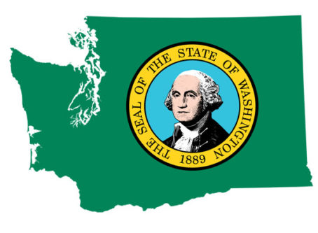 Map of Washington state with state seal