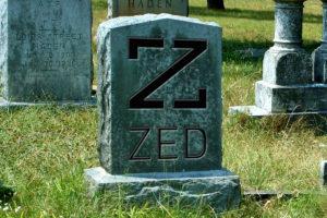 Gravestone with ZED logo