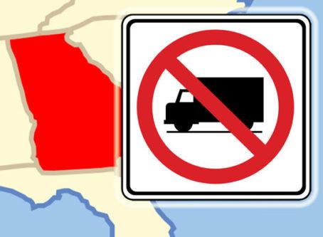 Map of Georgia, no-trucks sign