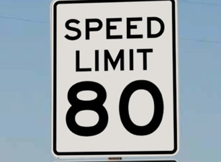 Speed limit sign, 80 mph