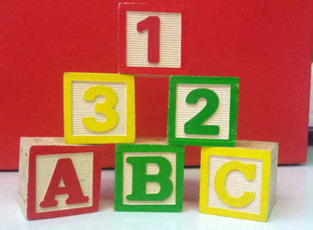 child's toy blocks with A-B-C