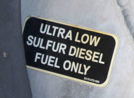 Diesel fuel only sign on fuel tank