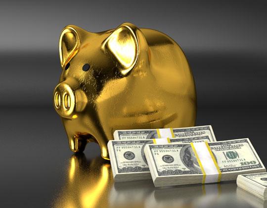 Gold piggy bank tax