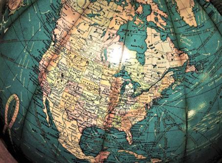 Globe showing North America