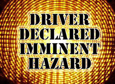 Driver declared imminent hazard over warning light