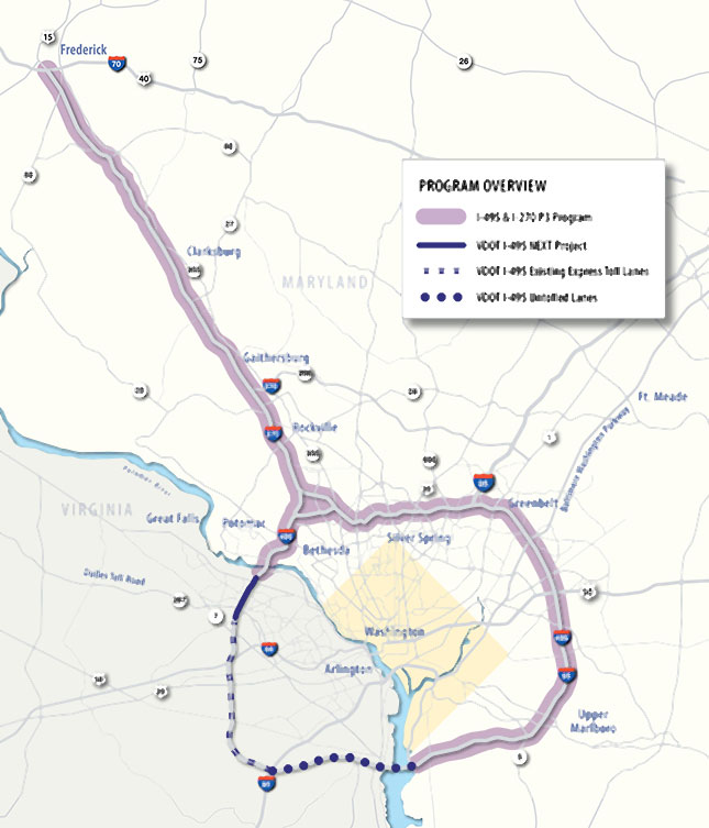 Maryland proposed toll plan map for Capitol Beltway