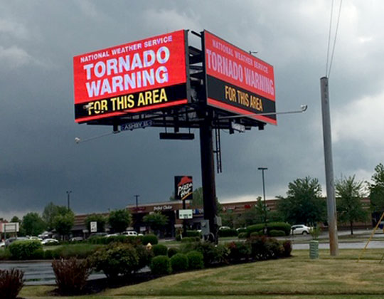 tornado warning on digital billboards