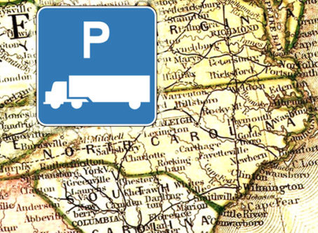 Truck parkign sign, North Carolina map