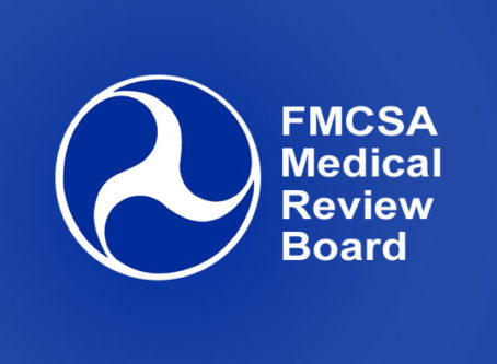 U.S. DOT logo, words FMCSA Medical Review Board