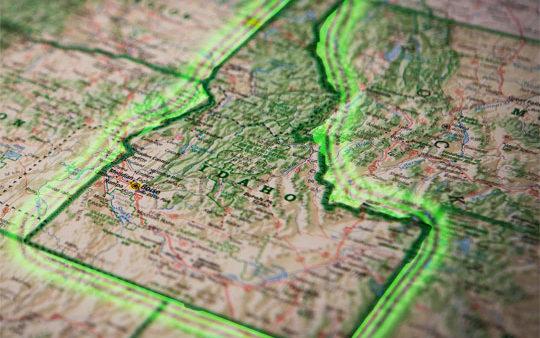 Idaho map in atlas