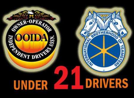 """OOIDA, Teamsters logos, words """"under 21 drivers"""""""