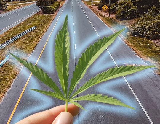 Hemp leaf, highway background