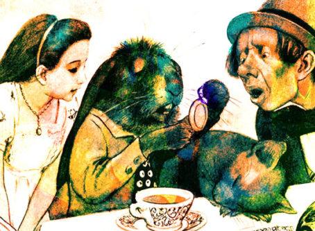 Alice in Wonderland, late rabbit, Mad Hatter, vintage drawing