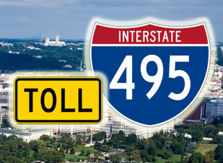 I-495 sign, yellow toll sign
