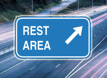 Rest area exit sign