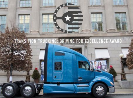 Transition Trucking Award logo, truck