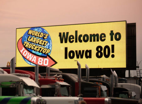 Welcome to Iowa 80 sign