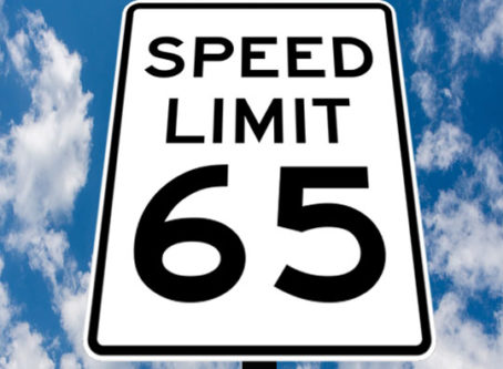 65 mph speed limit sign