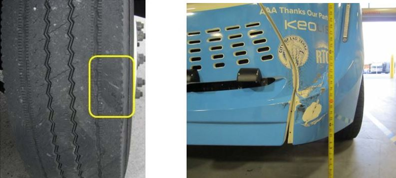 Damage to semi, autonomous vehicle