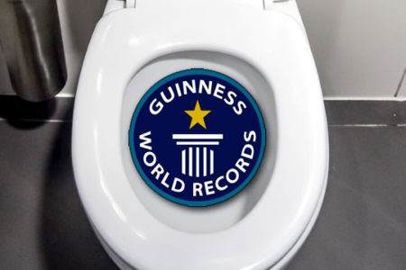 Toilet bowl from top, Guiness World Record logo