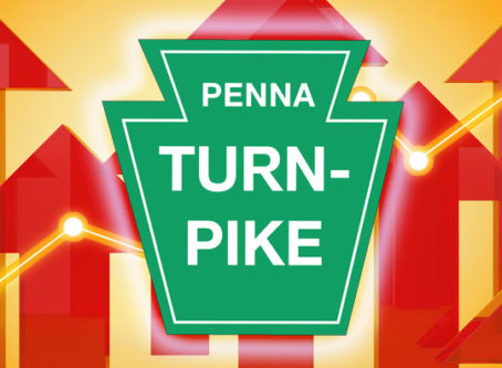 Pennsylvania Turnpike sign, arrows pointing up
