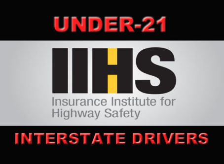 IIHS logo, words Under-21 interstate drivers