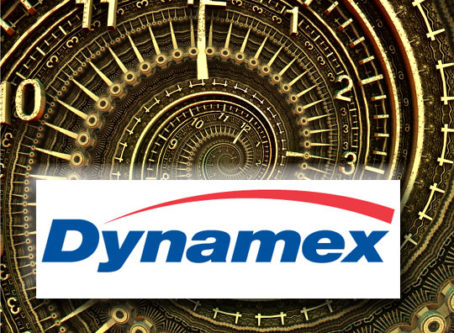 Dynamex logo, time travel clock graphic