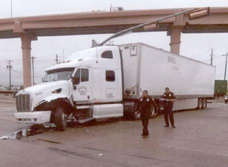 Ambrosio Longoria's damaged truck