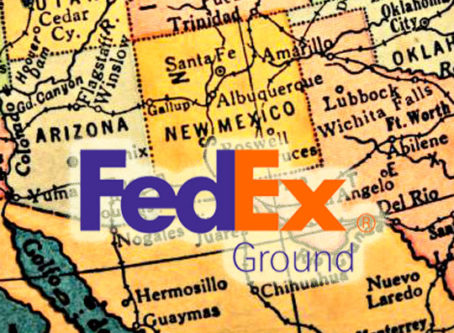 FedEx Ground logo, map of New Mexico