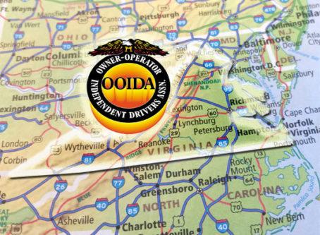 OOIDA logo, map of Virginia