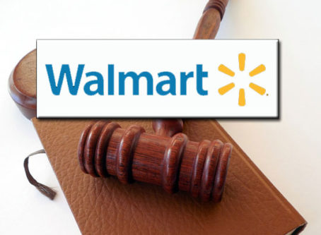 Walmart logo, gavel and lawbook