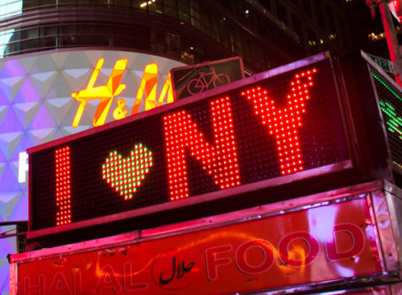 I (heart) NY on Times Square sign