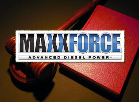 MaxxForce logo, gavel and lawbook