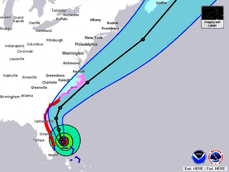 Forecast track of Hurricane Dorian