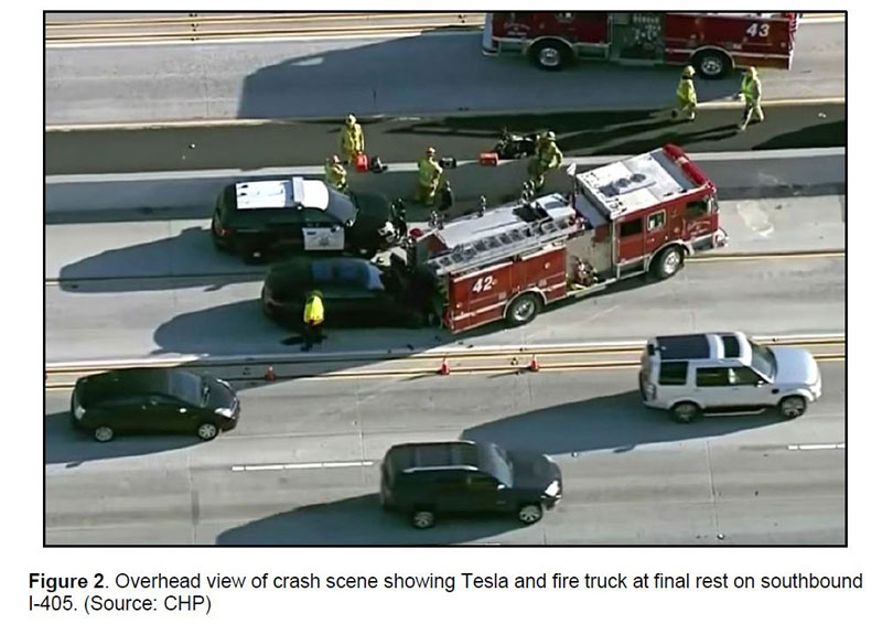 Tesla-involved crash in January 2018 Culver City, Calif.