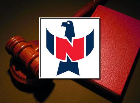 NFI logo, gavel, lawbook