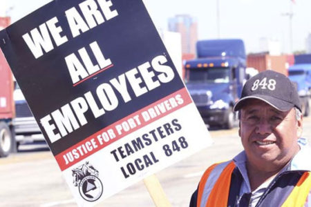 Port employees protesting unfair labor practies in support of California bill AB5