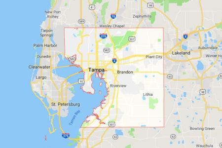 Google Map of Tampa, Hillsborough County, Fla.