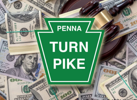 Pennsylvania Turnpike logo, gavel, money