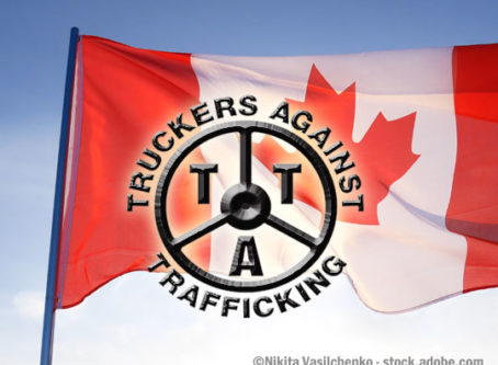 Canadian flag, Truckers Against Trafficking logo