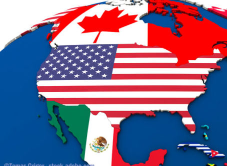 Globe showing U.S., Mexico and Canada
